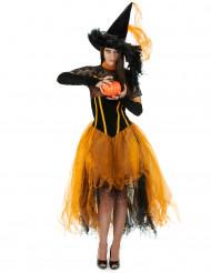 Disfraz bruja puntilla naranja mujer Halloween