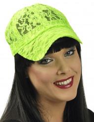 Gorra encaje verde fluorescente mujer