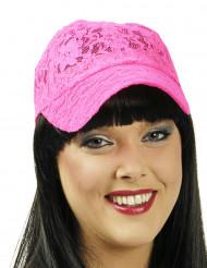 Gorra encaje rosa fluorescente adulto
