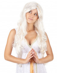 Peluca larga ángel hilos dorados mujer