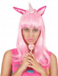 Peluca larga rosa unicornio mujer