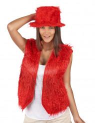 Chaleco peluche rojo adulto