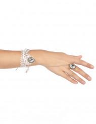 Pulsera anillo encaje blanco mujer