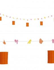 Guirnalda de flores y farolillos naranja y rojo 3 m