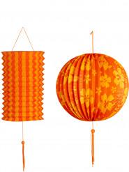 2 Farolillos naranjas y amarillos