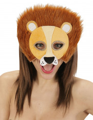 Semi máscara león peluche adulto
