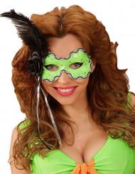 Antifaz verde con pluma negra mujer