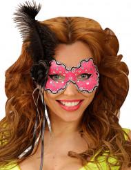 Antifaz rosa con pluma negra mujer