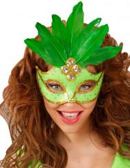 Antifaz verde con plumas mujer