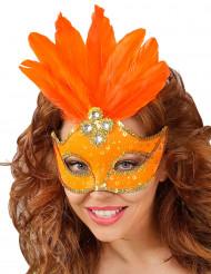Antifaz naranja con plumas mujer
