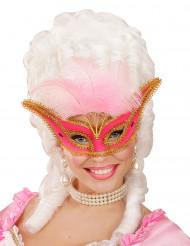 Antifaz barroco con plumas rosas mujer
