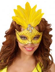 Antifaz amarillo con plumas mujer