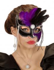 Antifaz bicolor violeta y negro con plumas mujer