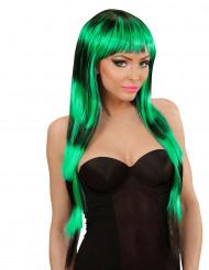 Peluca larga con flequillo negro y verde mujer