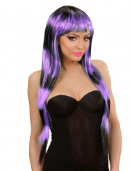 Peluca larga con flequillo negro y violeta mujer