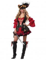Disfraz Pirata rojo para mujer -Premium