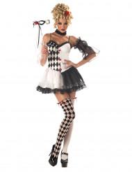 Disfraz arlequín sexy mujer blanco y negro