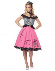 Disfraz años 50 negro y rosa perro para mujer
