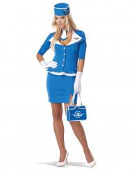 Disfraz de azafata de vuelo azul mujer