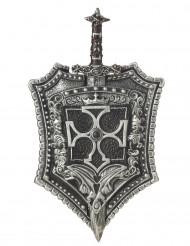 Escudo y espada caballero cruzada adulto
