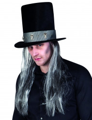 Sombrero de copa gótico con pelo adulto Halloween