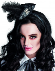 Mini tricornio pirata plumas negras mujer