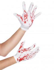 Guantes cortos blancos manchas sangre adulto Halloween