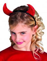 Cuernos rojos Halloween lentejuelas niña