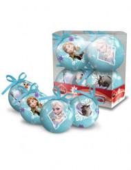 4 Bolas de Frozen™ 7,5 cm Navidad