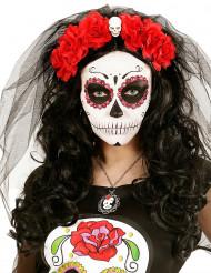 Diadema flores rojas calavera Día de los Muertos
