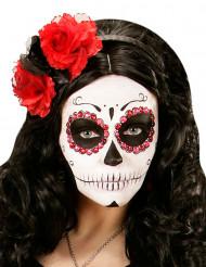Diadema flores rojas y negras mujer Día de los Muertos