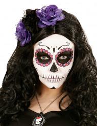 Diadema flores violetas y negras Día de los Muertos