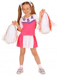 Disfraz animadora rosa y blanco niña