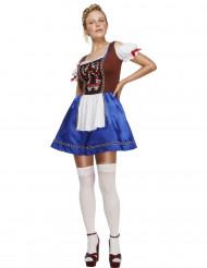 Disfraz bávara camarera azul mujer