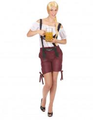Disfraz tirolesa pantalón burdeos mujer