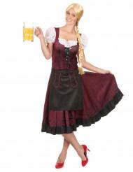 Disfraz vestido de bávara burdeos mujer