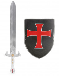 Kit escudo y espada caballero cruzado niño