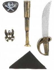 Kit de pirata -sable, catalejo, bandana, insignia y parche niño
