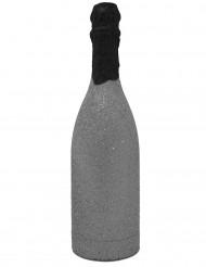 Cañón de confetis botella brillante plateada
