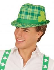 Sombrero tartán verde con trébol San Patricio adulto