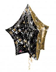 Globo aluminio estrella negra dorada