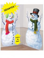 2 Decoraciones murales cartón Muñecos de nieve