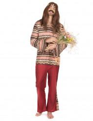 Disfraz hippie burdeos hombre