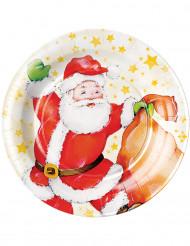 8 Platos de cartón Papá Noel estrellas 23 cm