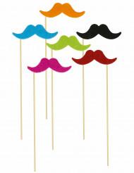 6 Palillos bigote fluorescente