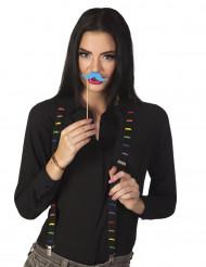 Tirantes negros con bigotes multicolores adulto