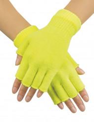 Mitones cortos amarillo fluorescente adulto