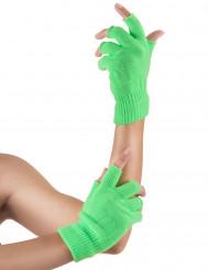 Mitones cortos verde fluorescente adulto