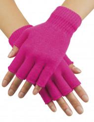 Mitones cortos rosa fluorescente adulto