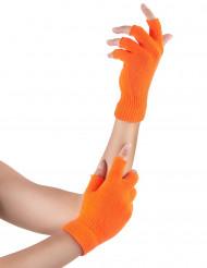 Mitones cortos naranja fluorescente adulto
